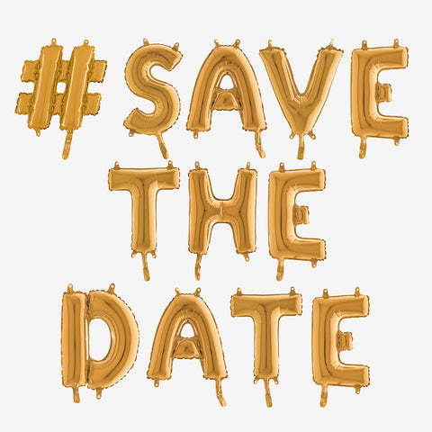 Gold letter foil balloons #Save The Date