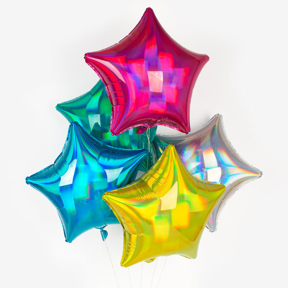Foil balloon - Star - Holographic yellow