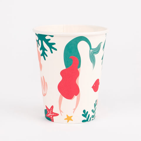 8 paper cups - Mermaid