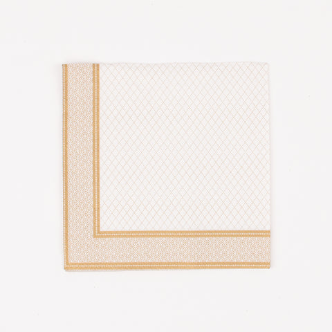 20 small napkins - White and gold