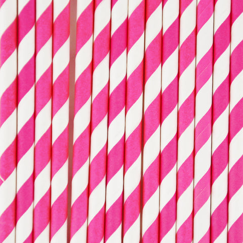 25 straws - Bright pink stripes
