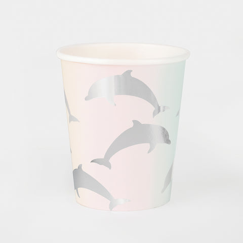 8 paper cups - Silver dolphin