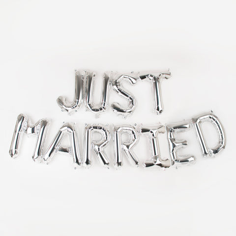 Silver letter foil balloon Just Married