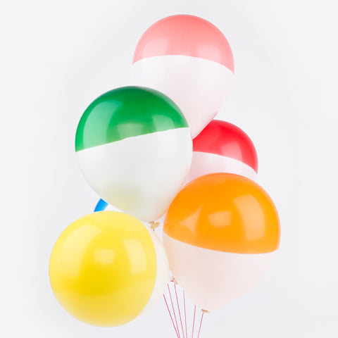6 multicolored balloons