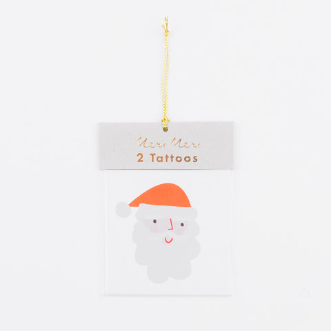 2 temporary tattoos - Santa Claus and Reindeer