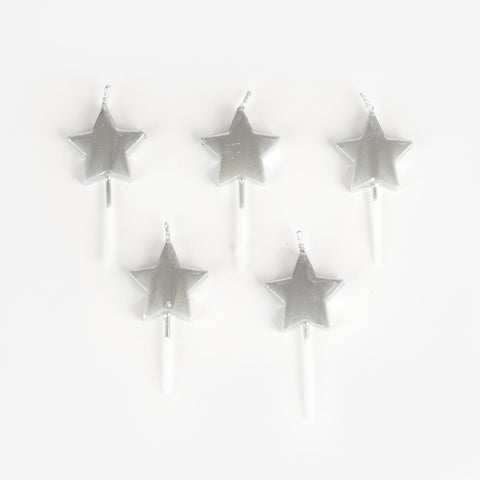 5 candles - Silver stars