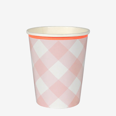12 cups - Pink Gingham