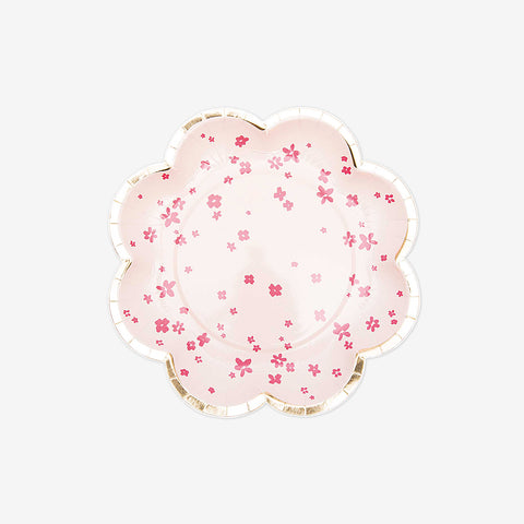 12 paper plates - Pink flowers
