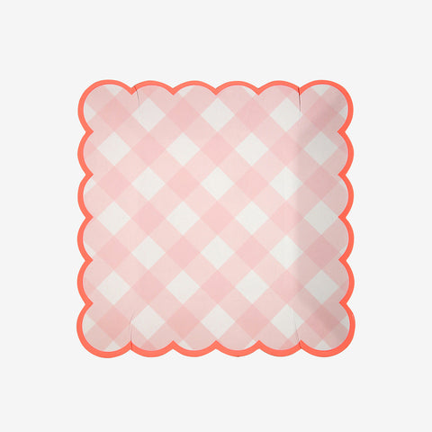 12 small square plates - Pink Gingham