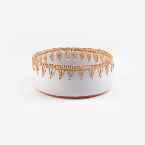 1 clay and raffia salad bowl - White