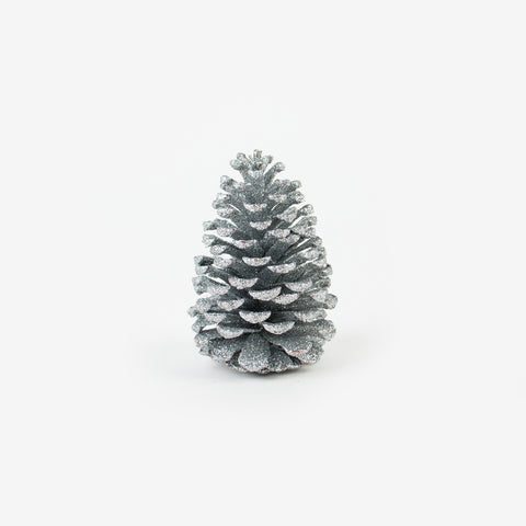 1 Christmas decoration - Silver glitter pine cone