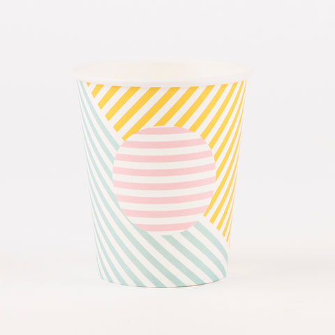 8 paper cups - pastel stripes