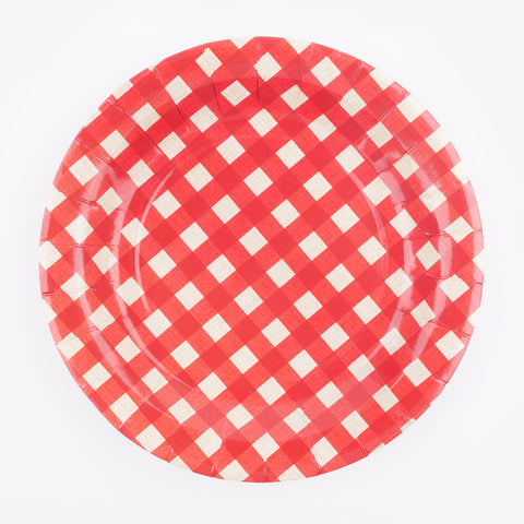 10 plates - Red gingham