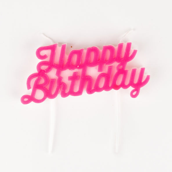 1 candle - Happy Birthday - Pink