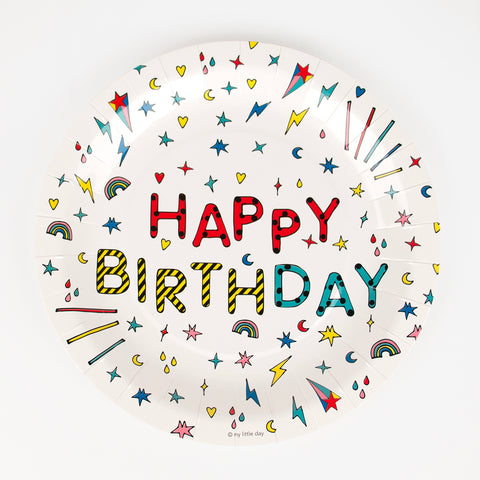 8 paper plates - Happy birthday