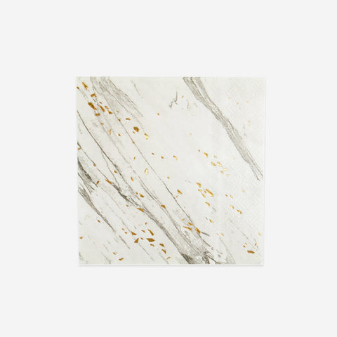20 small napkins - White marble