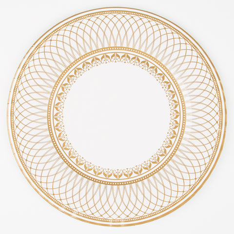 8 large plates - White and gold