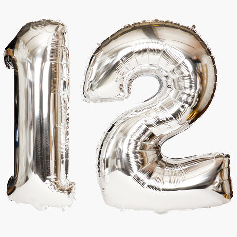 Big silver foil balloon - Bold number
