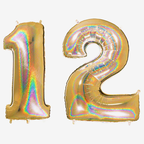 Big foil balloon - Number - Holographic gold