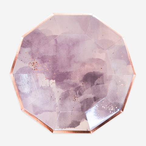 8 plates - Mauve and gold