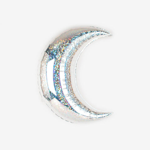 Iridescent foil balloon - Small silver moon