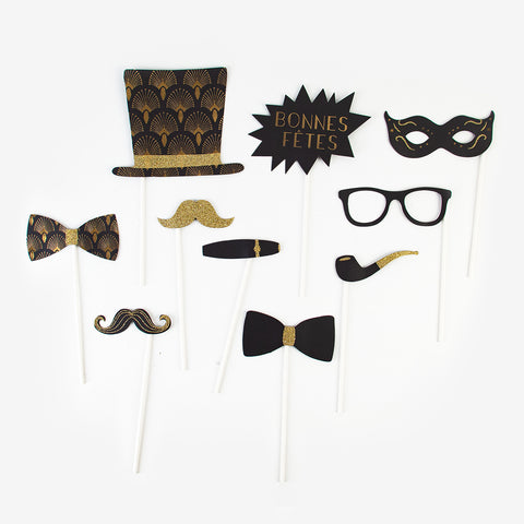 Happy New Year Photobooth Kit - Black and gold glitter