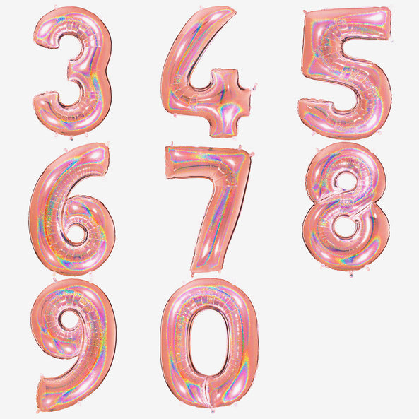 Big foil balloon - Number - Holographic pink