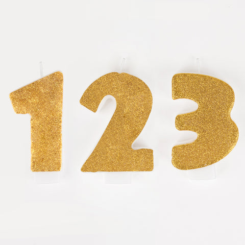 1 gold glitter number candle