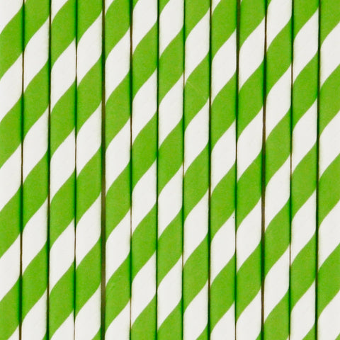 25 straws - Lime green stripes