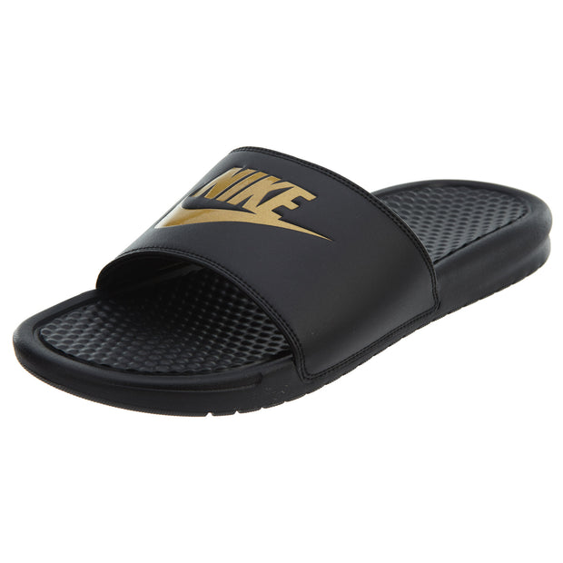 official photos 50a50 650d6 Nike Benassi JDI Black Metallic Gold Logo Slide Mens Style  343880