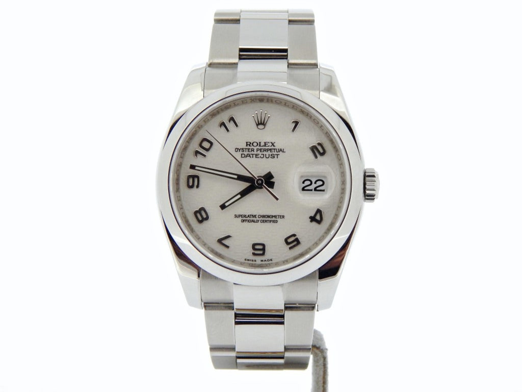 Pre Owned Mens Rolex Stainless Steel Datejust with a White Arabic Dial 116200