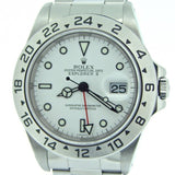 PRE OWNED MENS ROLEX STAINLESS STEEL EXPLORER II WITH A WHITE DIAL 16570