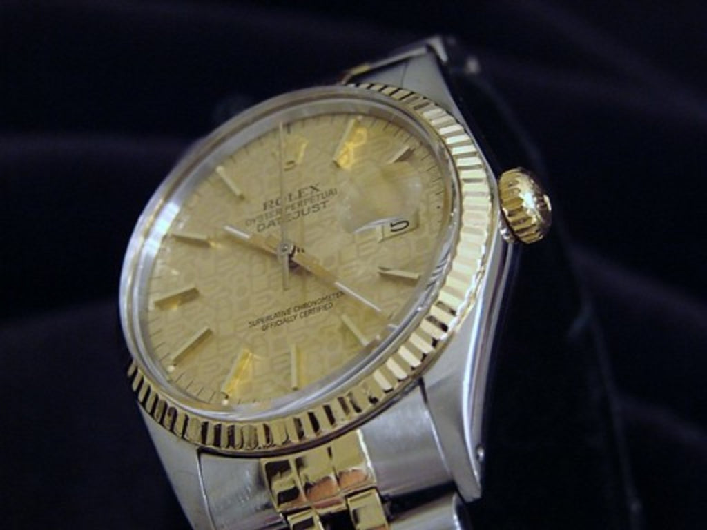 Pre Owned Mens Rolex Two-Tone Datejust with a Gold Anniversary Dial 16013