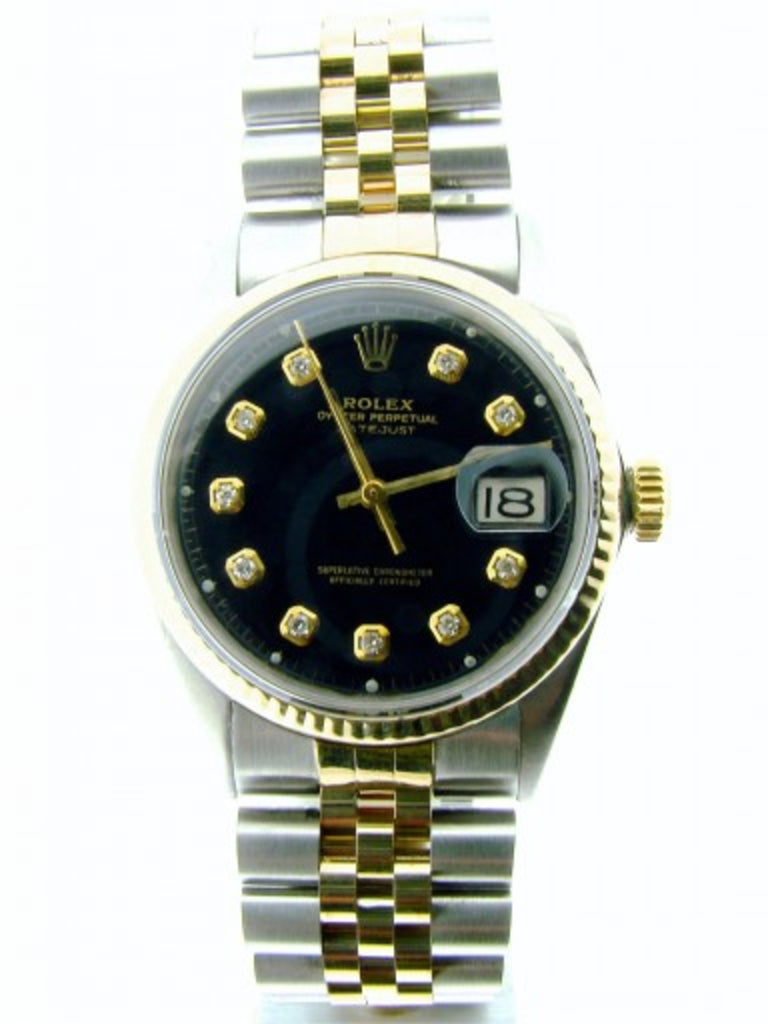 Pre Owned Mens Rolex Two-Tone Datejust with a Black Diamond Dial 1601