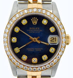 Pre Owned Mid Size Rolex Two-Tone Datejust Diamond Blue Vignette 68273