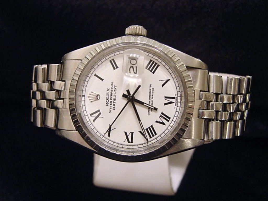 Pre Owned Mens Rolex Stainless Steel Datejust with a White Roman Dial 1603