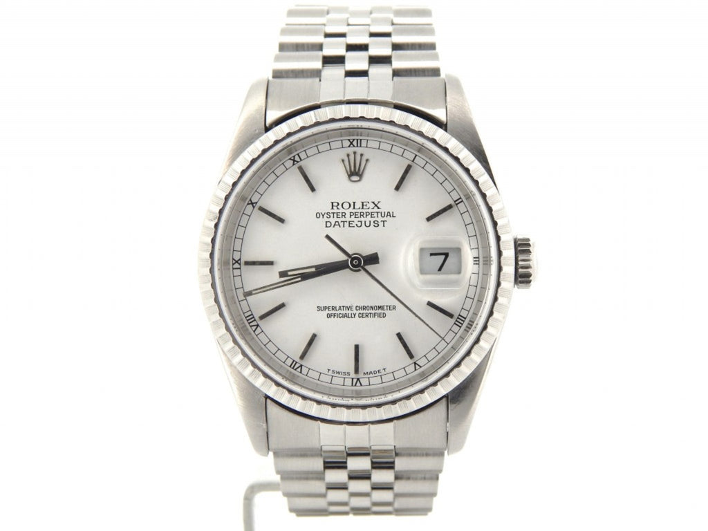 Pre Owned Mens Rolex Stainless Steel Datejust with a White Dial 16220