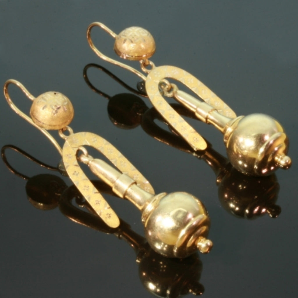 Victorian gold dangle earrings
