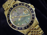 PRE OWNED MENS ROLEX YELLOW GOLD GMT-MASTER WITH A MOP DIAMOND DIAL 16758