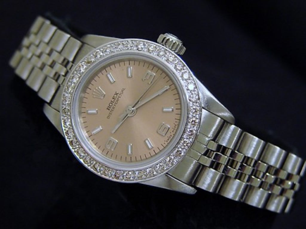 PRE OWNED LADIES ROLEX STAINLESS STEEL OYSTER PERPETUAL DIAMOND WITH A SALMON DI