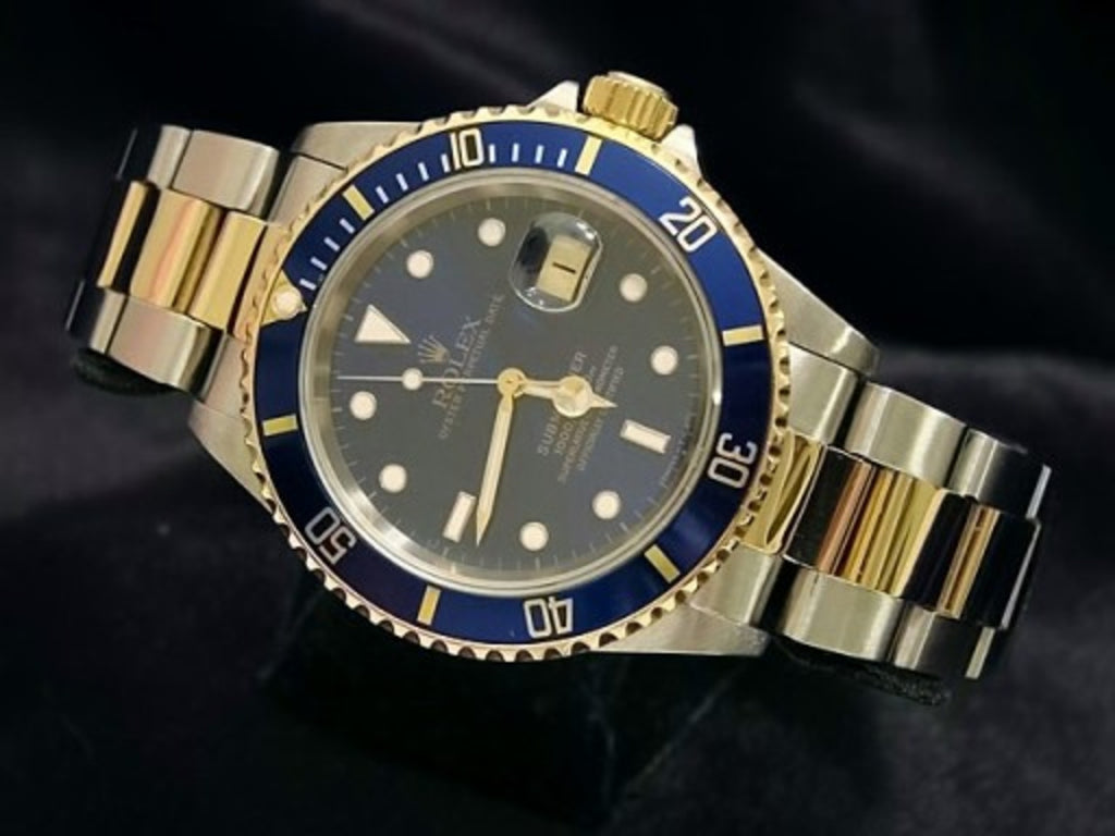 PRE OWNED MENS ROLEX TWO-TONE SUBMARINER DATE WITH A BLUE DIAL 16613