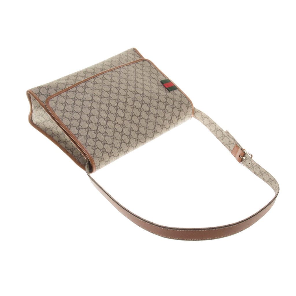 Gucci 246411 Beige/Ebony GG Supreme Canvas with Brown Leather Trim Crossbody Bag