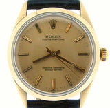 PRE OWNED MENS ROLEX GOLD SHELL OYSTER PERPETUAL WITH A CHAMPAGNE DIAL 1024