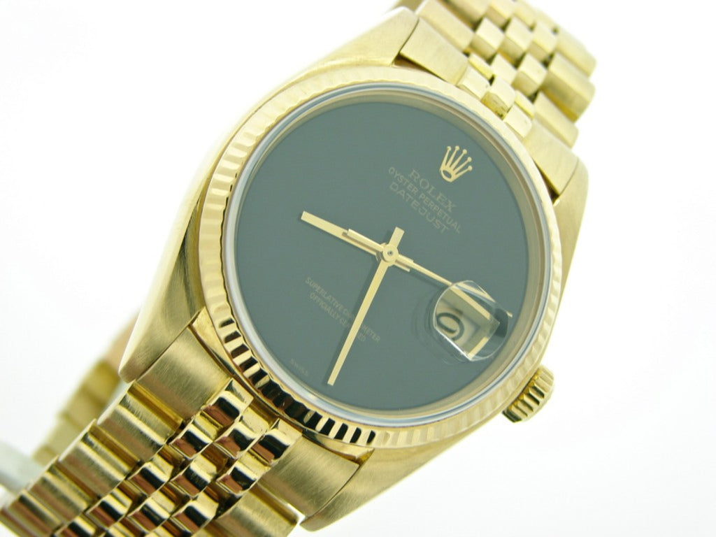 Pre Owned Mens Rolex Yellow Gold Datejust with a Black Onyx Dial 16018