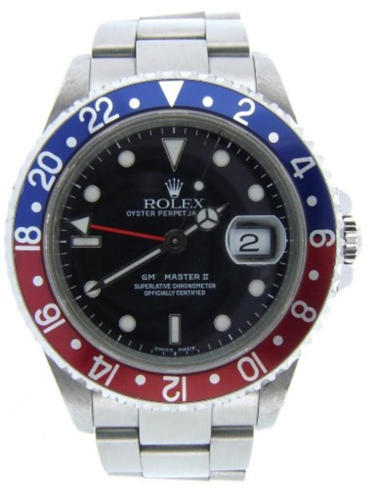 PRE OWNED MENS ROLEX STAINLESS STEEL GMT MASTER II PEPSI WITH A BLACK DIAL 16710