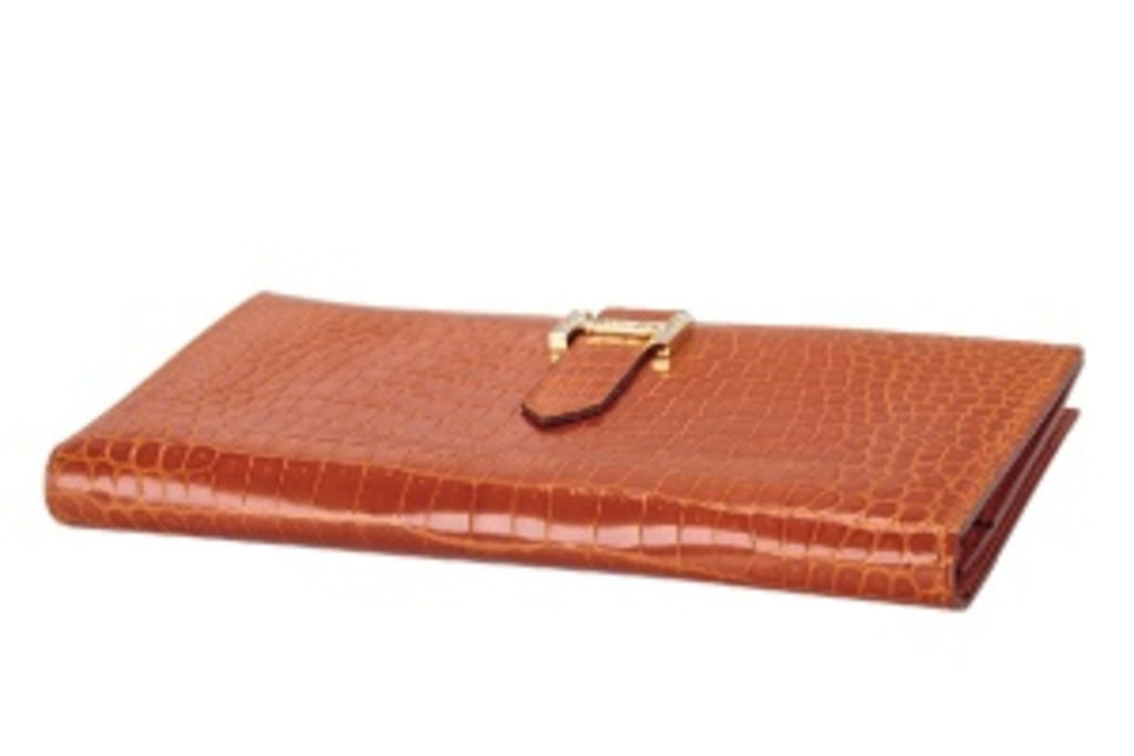 Pre-Owned Hermès Orange Porosus Crocodile Lisse Bearn Gusset Wallet