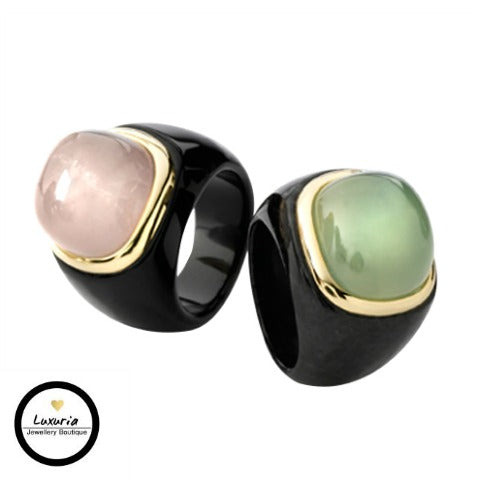 BLACK JADE, GOLD STATEMENT/COCKTAIL RINGS WITH GEMSTONES