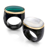 STATEMENT COCKTAIL RING IN BLACK JADE + GEMSTONES EMBEDDED IN 14KT GOLD