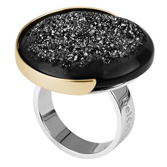 Contemporary Silver, Gold, Black Onyx and Druzy Statement Ring