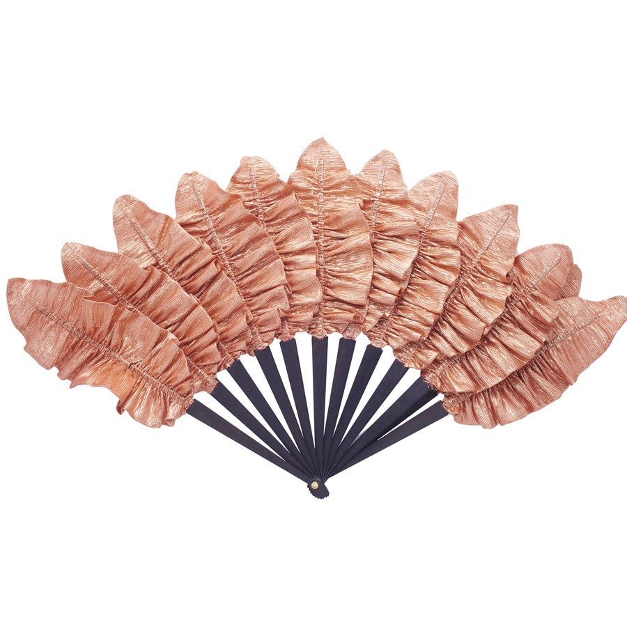LUXURY APRICOT PALMETTE HAND-FAN BY DUVELLEROY